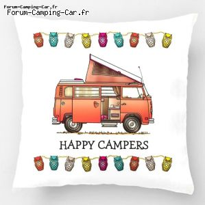 Décoration Coussin housse Happy campers